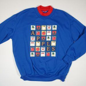 Vintage 80's School Teacher Apples Sweatshirt M